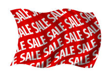 Sale Red Flag. Marker billowing in the wind. White on red Stock Image