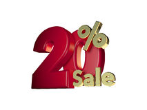 20% sale in Red and gold. 3D Numbers isolated on white background Royalty Free Stock Photo