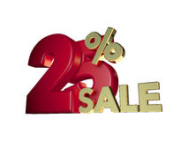 25% sale in Red and gold Stock Images