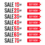 Sale red letters tags. Font and text with special offer discounts, vector layout Stock Photography