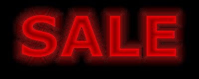 Sale red neon sign promoting sales Royalty Free Stock Photography