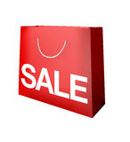 Sale red paper shopping bag symnol Royalty Free Stock Images