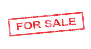 For sale in red rectangular stamp Stock Photo