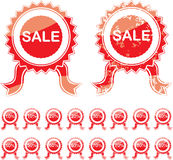 Sale red seal. Or rosette isolated on white background with copy space Royalty Free Stock Photos