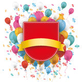 Sale Red Shield Balloons Percents. Red shield with flag, balloons and percents on the white Stock Photography