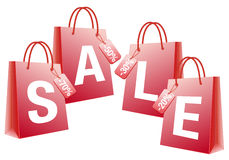 Sale, red shopping bags,  Royalty Free Stock Image