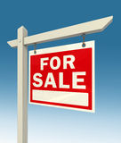 For sale red sign. Real estate for sale red sign on blue background clipping pah included Stock Photos