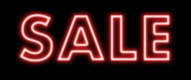 Sale red sign neon on black Royalty Free Stock Image