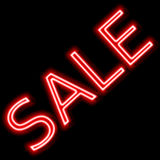 Sale red sign neon promoting sale Stock Photos