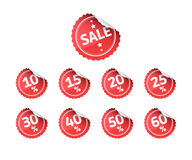 Sale Red Stickers Numbers Set Royalty Free Stock Images