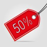 Sale red tag fifty. Special offer price Royalty Free Stock Images