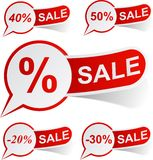 SALE red tags. Vector illustratin of sale sticky labels Royalty Free Stock Images