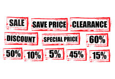 Sale red tags clearance shopping Grunge graphic Stock Photo