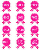 Sale red tags with sale various percent Royalty Free Stock Images