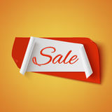 Sale, red and white abstract banner. Sale, red and white abstract banner on on orange background. Vector illustration Royalty Free Stock Photography