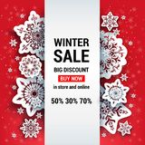 Sale red winter card Royalty Free Stock Image