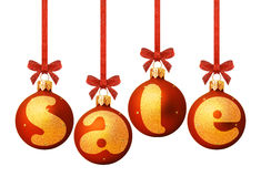 Sale on red xmas decorations Stock Images