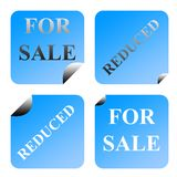 For sale and reduced labels Stock Photo