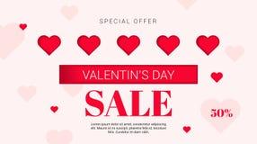Sale reklamblad med hjärtor på valentin dag också vektor för coreldrawillustration Royaltyfri Bild