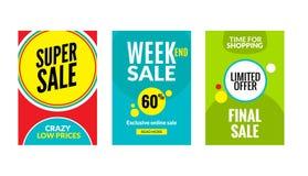 Sale reklambladuppsättning med rabatterbjudande För prisaffisch för säsong bästa mall Marknadsbaner som shoppar stora rabatter vektor illustrationer