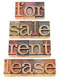 For sale, rent, lease. A collage of isolated words in vintage wood letterpress printing blocks Royalty Free Stock Images
