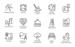 Sale, rent of real estate and public zones mono thin stroke symbols. Set of black icons in linear design Stock Image