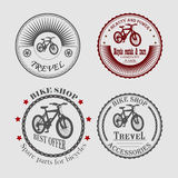 Sale and rental of bicycles for travel Stock Photos