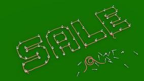 SALE - Rep som skisseras till ben som uttrycker på grönt bräde Arkivfoto