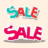 Sale Retro Vector Stickers. Sale Titles - Retro Vector Stickers Stock Photos