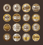 Sale retro vintage golden badges and labels. Template Royalty Free Stock Images