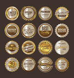 Sale retro vintage golden badges and labels. Template Stock Images