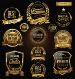 Sale retro vintage golden badges and labels. Template vector Royalty Free Stock Photos