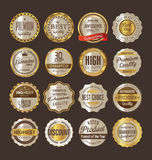 Sale retro vintage golden badges and labels. Template vector Stock Images