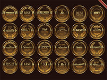 Sale retro vintage golden badges and labels. Template vector Royalty Free Stock Images