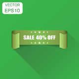 Sale 40% ribbon icon. Business concept sale 40 percent sticker. Label pictogram. Vector illustration on green background with long shadow royalty free illustration