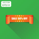 Sale 50% ribbon icon. Business concept sale 50 percent sticker. Label pictogram. Vector illustration on green background with long shadow Stock Illustration