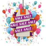 Sale Ribbon Price Sticker Balloons Percents. Price sticker with ribbon and text sale on the background with colored balloons and percents Royalty Free Stock Image