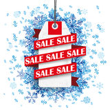 Sale Ribbon Price Sticker Blue Snowflakes Percents Stock Photography