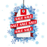 Sale Ribbon Price Sticker Blue Snowflakes Stock Photography