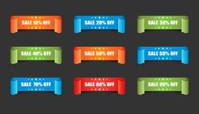 Sale ribbon vector icon. Discount sticker label set on black bac Stock Image