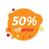 Sale Round Banner. 50 Percent Off Price Discount Stock Photo