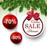 Sale round christmas balls. Stock Photos
