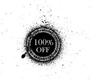 Sale rubber stamp. Abstract 100% off sale sticker isolated on white background Royalty Free Stock Image