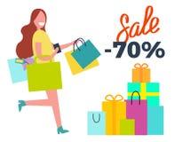Sale -70 Running Woman on Vector Illustration Stock Image