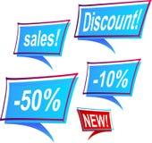 Sale's blue framed labels Stock Images