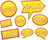 Sale's yellow labels Stock Photos