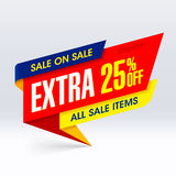 Sale On Sale paper banner, extra 25% off. All sale items Stock Image