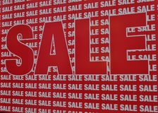 Sale sale sale. Large red sign with numerous sale sale sale. words royalty free stock images