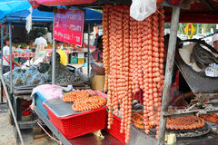 Sale sausages on market Stock Photo