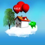 Sale and saving. House  in the sky with red toy balloons Royalty Free Stock Photography